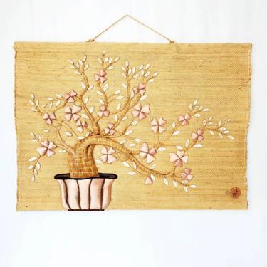 Authentic 1985 Don Freedman Jute & Silk Bonsai Tree Wall Hanging by pennyportland