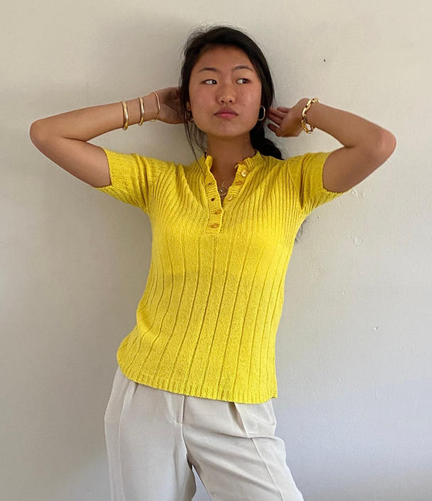 70s henley sweater tee / vintage neon highlighter yellow ribbed knit short sleeve snug henley sweater tee | S by RecapVintageStudio