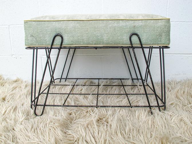 Mid-century Black Wire Stool with Rack and Removable Seafoam Green Cushion by PortlandRevibe