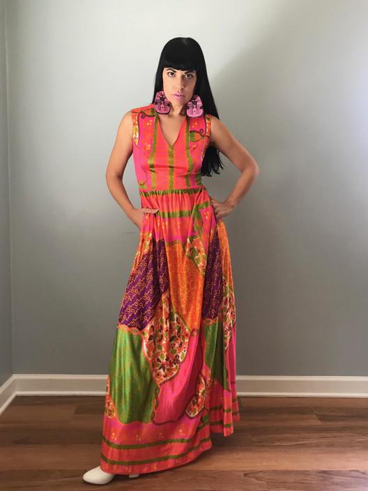 70s maxi dress | bohemian print sleeveless v-neck dress | party dress by LosGitanosVintage
