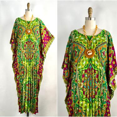 ALICE POLYNESIAN FASHIONS Vintage 70s Pleated Kaftan, 1970s Psychedelic Floral Hawaiian Sun Dress Caftan, 60s 1960s Hawaii Tiki Hippie Boho by lovestreetsf
