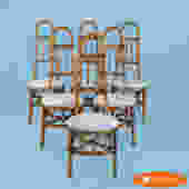 Set of 6 Rattan Bended Chairs