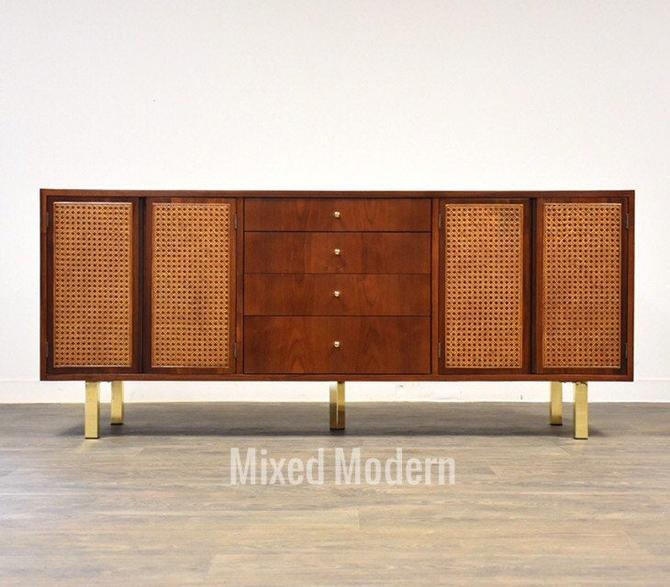 Walnut and Brass Modern Credenza Dresser by mixedmodern1
