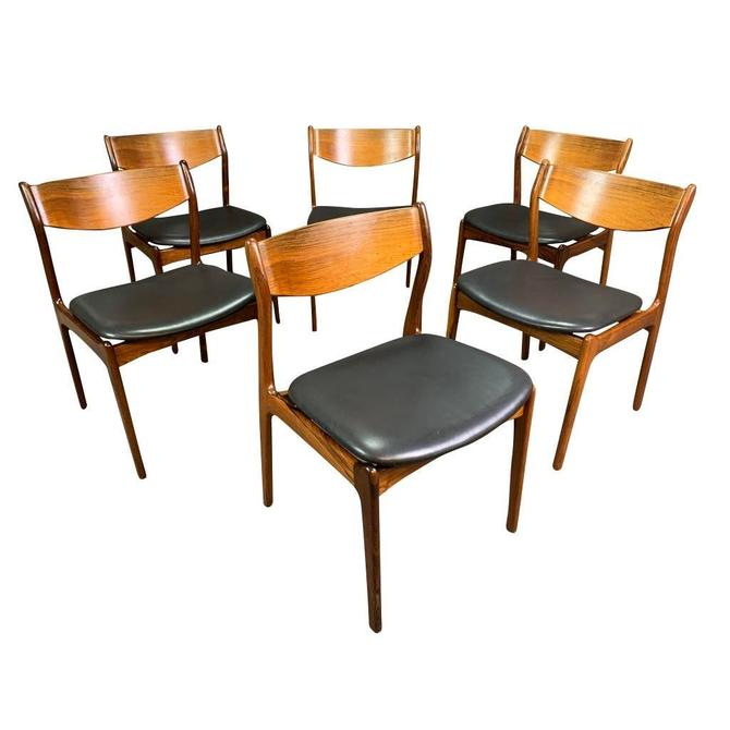 Set of Six Vintage Mid Century Danish Modern Dining Chairs in Rosewood & Leather Attributed to Vestervig Eriksen by AymerickModern