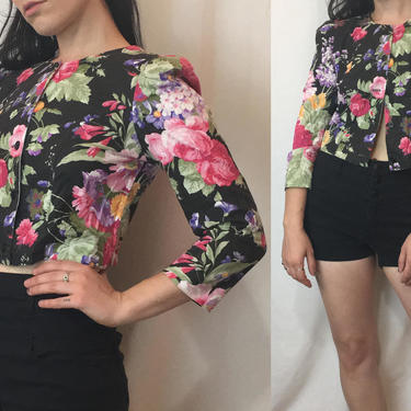 Vintage 1980s Floral Top | Cropped Structured Jacket, Cotton Button Down Blouse, Summer Jacket, Size Small | Jodi Michaels by noisyeyevintage
