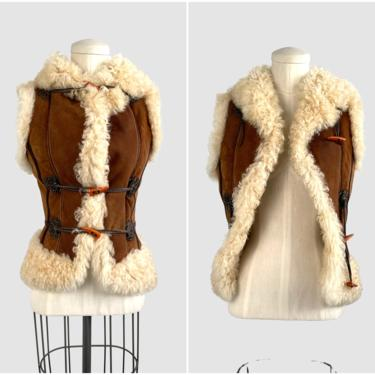 PENNY LANE 70s Afghan Style Vintage Shearling and Suede Vest | 1970s 60s Curly Lamb Fur, Sheep Sheepskin | Hippie Boho Tribal | Size X Small by lovestreetsf