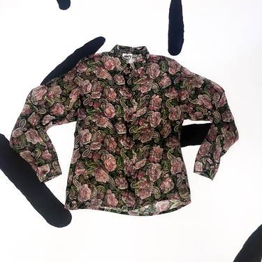 90s Floral Paisley Print Sheer Rayon Button Down Shirt / Nancy Ganz New York / Medium / Pastel / Romantic / Black Based / Flowy / 90210 / M by badatpettingcats