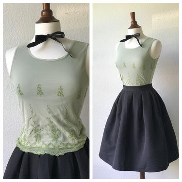 Vintage lace embroidered green top sz s by honeycombvintage