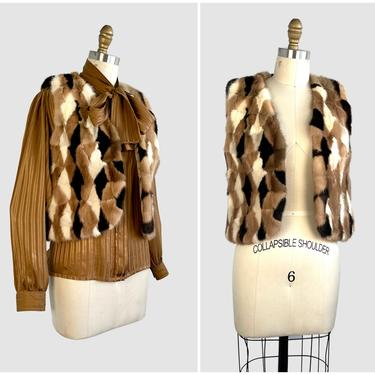 HARLEQUIN ROMANCE Vintage 60s Mink Vest | 1960s RM Taylor Furs, Diamond Pattern Patchwork Fur Top | 70s 1970s Glam Hippie Boho | Size Small by lovestreetsf