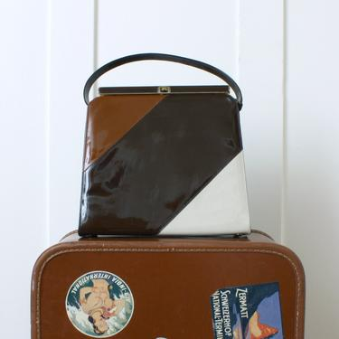 vintage early 1960s handbag • brown color block vinyl purse • 'a Risque handbag' by LivingThreadsVintage