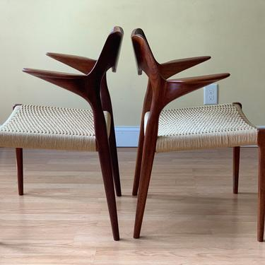 TWO Moller Model #55 Dining armChairs, in Teak and Danish Paper Cord, desk chair, bedroom chairs, one pair by ASISisNOTgoodENOUGH