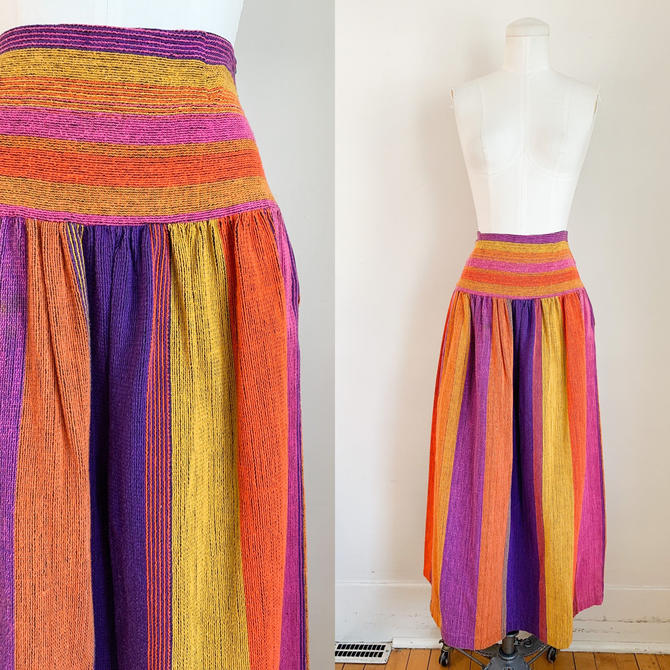 Vintage Rainbow Woven Cotton Maxi Skirt / S by MsTips