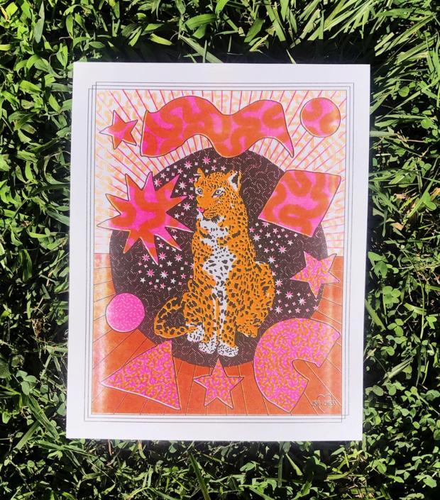 Cosmic Cat Risograph Print