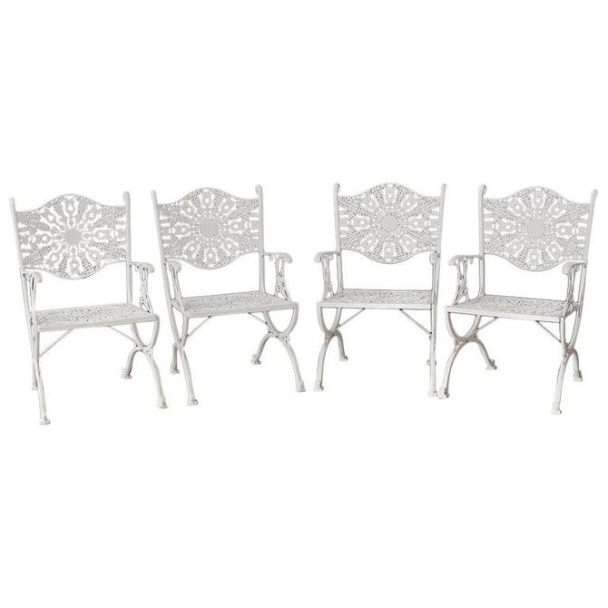 Set of Four Neoclassical Aluminum Garden Patio Chairs by ErinLaneEstate