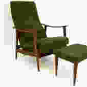 Folke Ohlssen for Dux Reclining Green Wool Chair