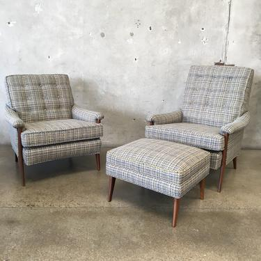 """Mid Century Modern """" His and Hers"""" Chairs & Ottoman"""