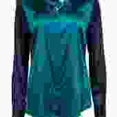 Elie Tahari - Green & Navy Silk Satin Button-Up Blouse Sz L