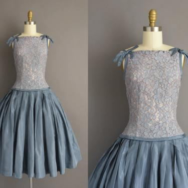 vintage 1950s dress | Gorgeous Blue Lace Sweeping Full Skirt Cocktail Party Prom Dress | Small | 50s vintage dress by simplicityisbliss