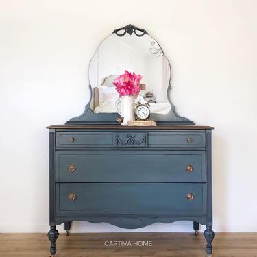 Handpainted Dresser, Vintage Bedroom Furniture, Teal, Blue Bureau, Feminine Decor, Pretty Details, Three Drawer Antique, Wood Stained Top by CaptivaHomeDecor