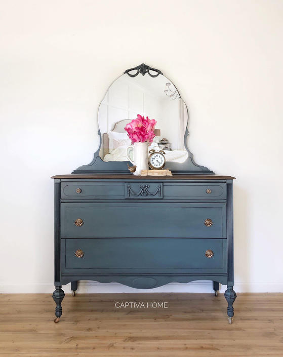 Handpainted Dresser, Vintage Bedroom Furniture, Teal, Blue Bureau, Feminine Decor, Pretty Details, Three Drawer Antique, Wood Stained Top by CaptivaHomeDecor