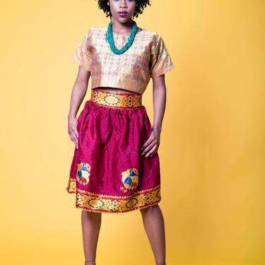 George Knee-length skirt - burgundy by GLAMMfashions