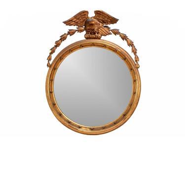 19th Century American Federal Carved Gilt Wood Circular Wall Mirror with Eagle Crest - Regilded By Herman F Strauff by LynxHollowAntiques