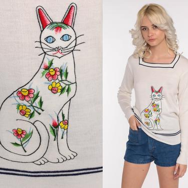 70s Cat Sweater Boho Animal Print Sweater Boho Kawaii Novelty Sweater  Embroidered 1970s Vintage Kitten Bohemian Knit Pullover Large by ShopExile
