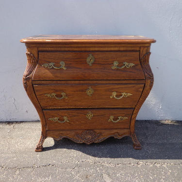 French Nightstand Beside Wood Table Provincial Bombe Rococo Baroque Chest Storage Furniture Console Bedroom Shabby Chic  CUSTOM PAINT AVAIL by DejaVuDecors
