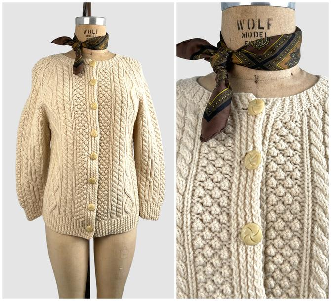 CLASSICALLY PREPPY Vintage 60s Cable Knit Fisherman Sweater | 1960s Cozy Chunky Knit Wool Cardigan | 70s 1970s Knitwear Top | Size Medium by lovestreetsf