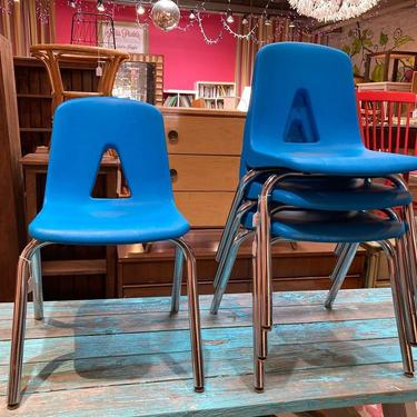 """Classic blue stacking school chairs. 4 available 16.5"""" x 16.5"""" x 31"""" seat height 18"""""""