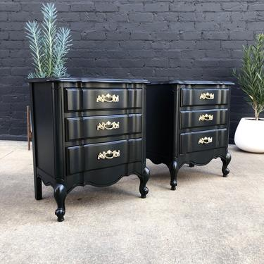 Pair of Elegant 1960's Gray Painted French Provincial Nightstands by VintageSupplyLA