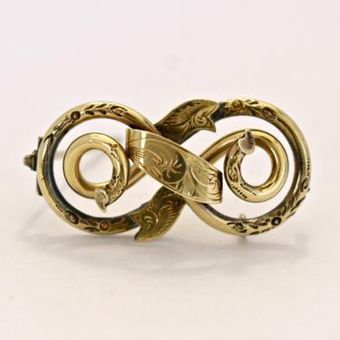 Antique Victorian 10k gold ornate love knot c clasp brooch, elegant intricate yellow gold floral infinity knot ribbon pin by BetseysBeauties