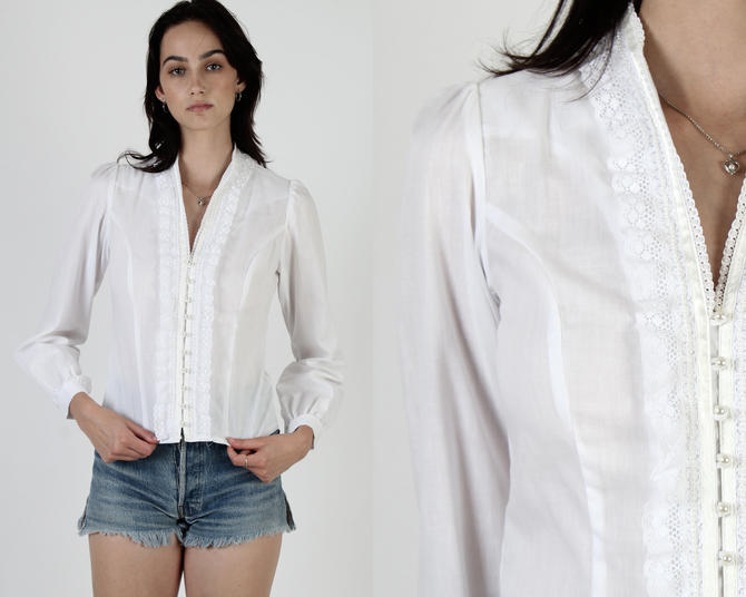 Vintage 80s Gunne Sax Top White Floral Lace Victorian Country Prairie Lawn Blouse by americanarchive
