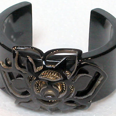 French Bracelet Lucite Cuff Solid Black with Detailed Carved Flower Center by CafeSocietyStore