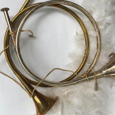 Vintage French Horn Your Choice, Decorative, Silver Tone Or Brass Tone, Christmas Decor, Mantel Fireplace, Hunting Lodge by luckduck