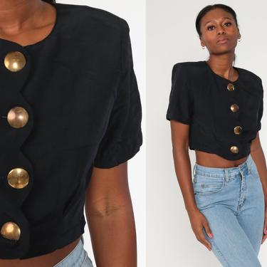Black Cropped Blouse 90s Plain Crop Top 1990s Shirt Collared Button Up Shirt Short Sleeve Top Normcore Vintage Small Medium by ShopExile