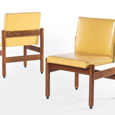 Set of Two (2) Minimalist Thonet Walnut Chairs in the Original Yellow Upholstery, USA by ABTModern