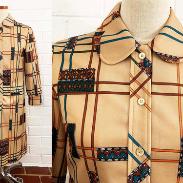 True Vintage Abstract Mod Dress Shirtknits by Fairview Peter Pan Collar Button Front 1960s 60s Geometric Tan Blue Long Sleeve Large Medium by CheckEngineVintage