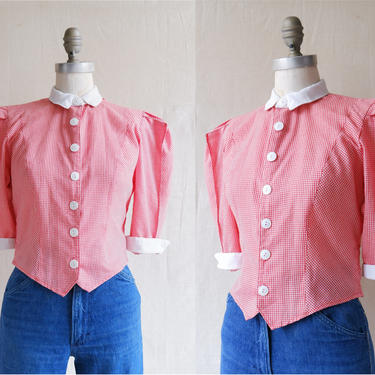 Vintage 80s Red White Gingham Puff Sleeve Shirt/ 1980s Cropped Prairie Style Blouse/ Size Small by bottleofbread