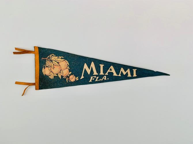 Vintage Miami Florida Souvenir Pennant by DelveChicago