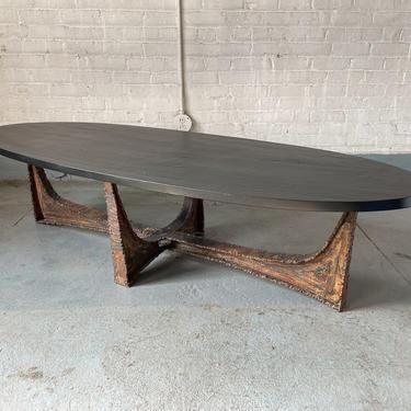Paul Evans Studio Coffee Table with Welded Steel Base and Elliptical Slate Top