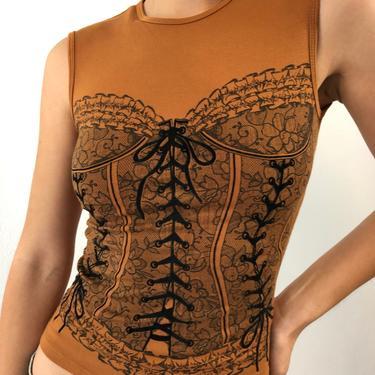 Vintage Brown Bustier Print Sleeves Stretchy Top by VintageRosemond