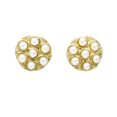 Solid 18K Seven Pearl Cluster Studs