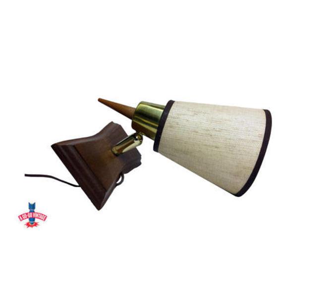 Vintage Cone Wall Sconce, Wall Lamp, Danish Modern Design, Lamp Light Lighting, Mid Century Modern, Wood Tweed & Brass, Vintage Lighting by AGoGoVintage