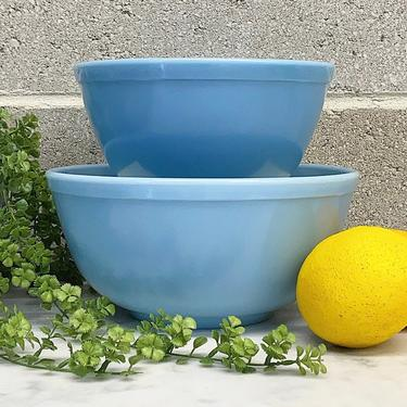 Vintage Pyrex Mixing Bowl Set Retro 1960s Delphite Bluebelle + Set of 2 + Ceramic + Round + 402 and 403 + Nesting + Kitchen Decor + Serving by RetrospectVintage215
