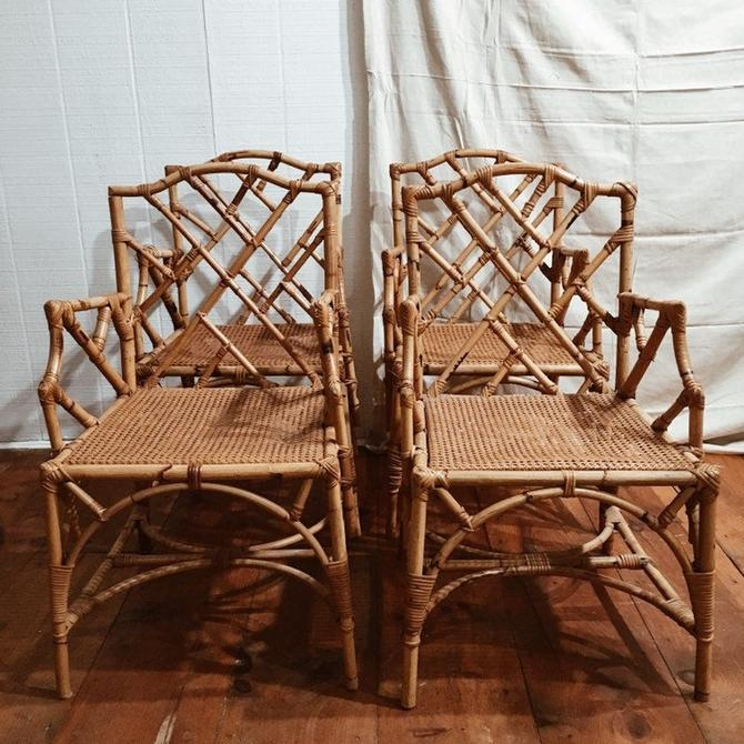 Italian Chippendale Rattan Cane Dining Arm Chairs, rattan cane dining chairs, vintage rattan chairs, vintage chairs, chippendale chairs by VintageandSwoon