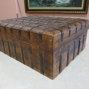 Vintage Antique large wood box with metal straps
