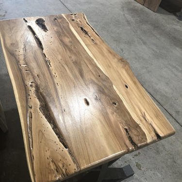Live Edge Teak Dining Table or Desk - Farmhouse Teak Dining Table - Boho Teak Desk by UmbuzoRustic
