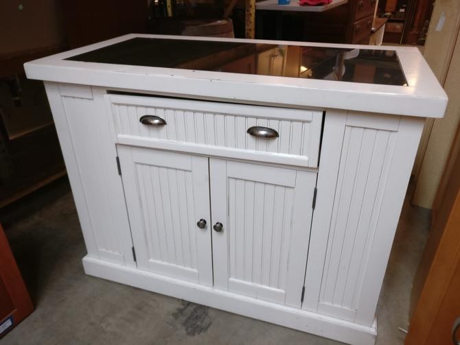 Beadboard Kitchen Island with Stone Top and Fold Out Bar