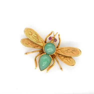 Vintage 14k Yellow Gold Jade Ruby Fly Insect Bee Pin Brooch Statement Hallmarked by HouseofVintageOnline
